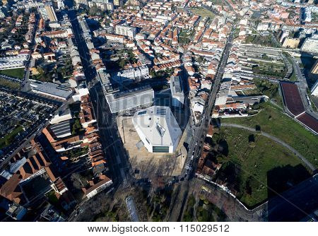 Aerial View of Rotunda Square and House of Music, Porto, Portugal