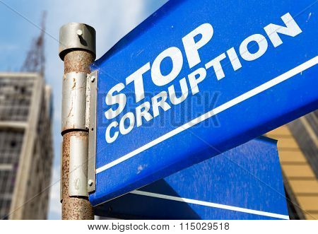 Stop Corruption written on road sign