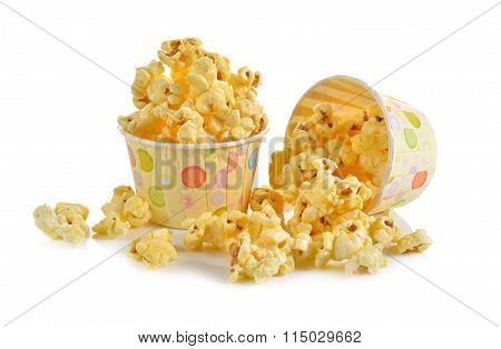 Pop Corn With Butter Flavoured On White Background