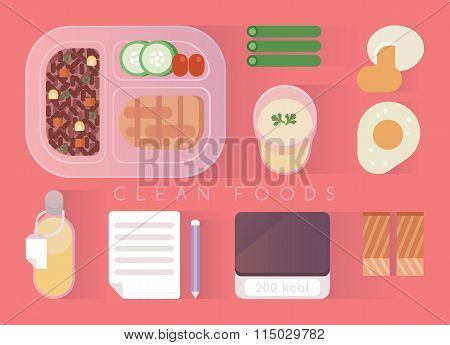 Clean foods design pink set
