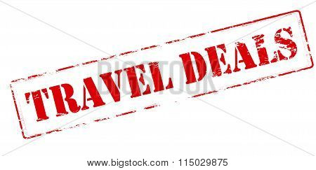 Rubber stamp with text travel deals inside vector illustration