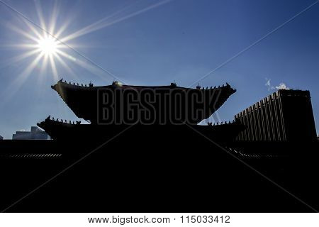 Backlight With Korean Architecture Shape And Form