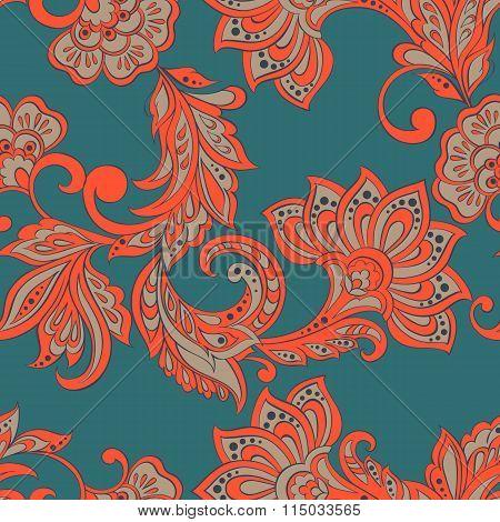 Floral pattern. Indian damask seamless wallpaper.