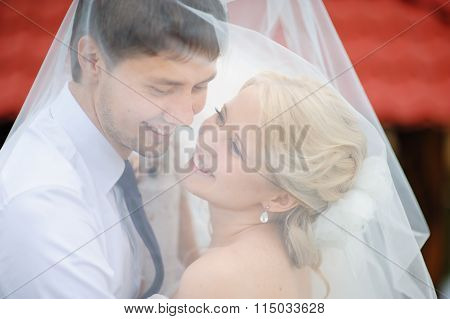 Love The Bride And Groom Are Covered With A Veil