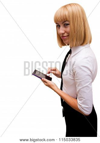 girl with cell phone is smiling