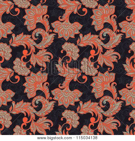 Indian floral seamless pattern in batik style