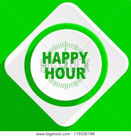 happy hour green flat icon