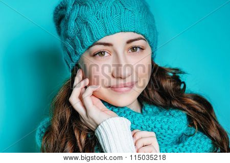 Portrait Of A Beautiful Young Woman In A Hat With A Menthol Color