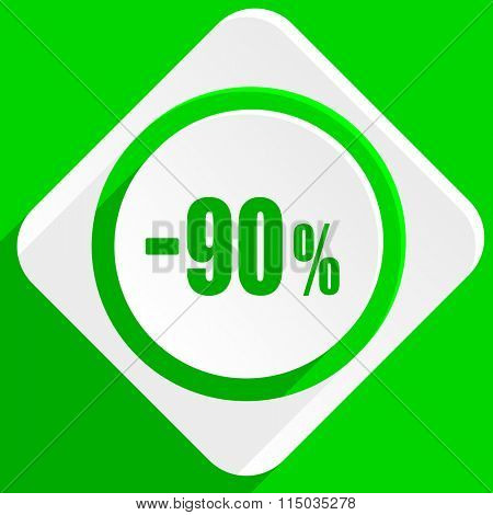 90 percent sale retail green flat icon