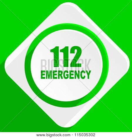 number emergency 112 green flat icon