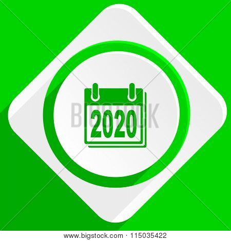 new year 2020 green flat icon