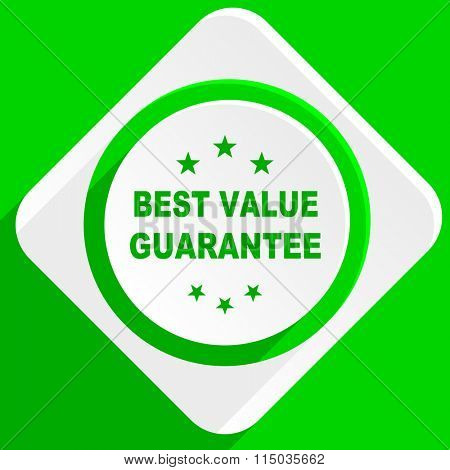 best value guarantee green flat icon