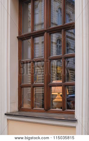 Classic Wooden Window With Lamp