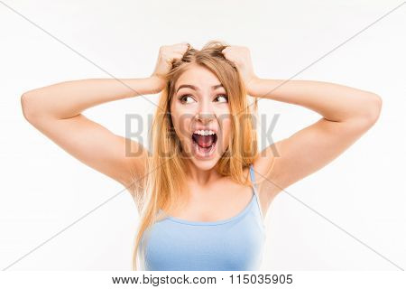 An Angry Girl Shouting In Stressed State