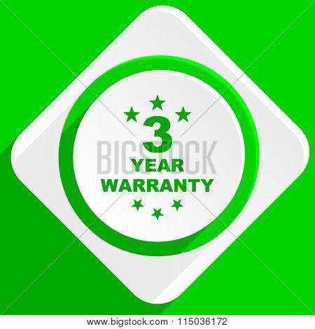 warranty guarantee 3 year green flat icon