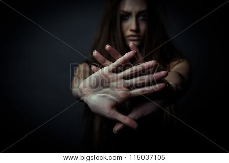 Young Unhappy Woman, Rejection Of Bad Habits