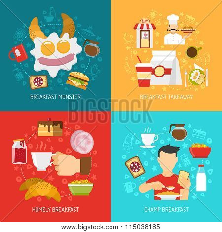 Breakfast Concept Icons Set