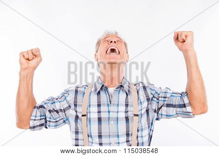 Handsome Excited Man Put Up His Hands