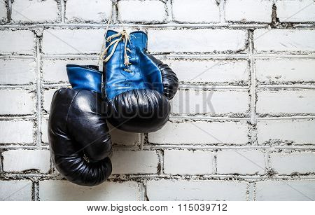 Boxing Gloves On Brick Wall