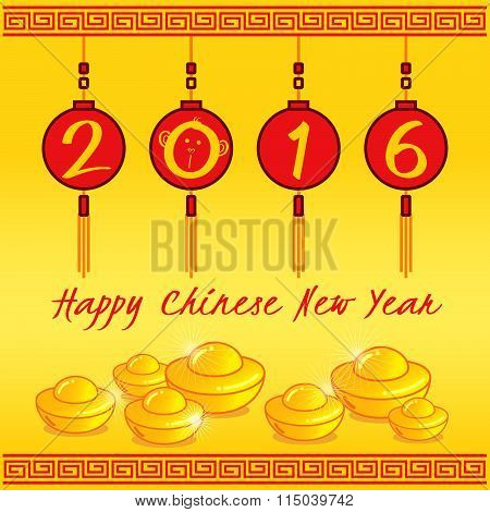 2016 Happy Chinese New Year 4 Red Lanterns And Tael Gold On Yellow Background