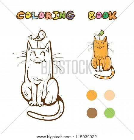 Coloring Book With Cat.