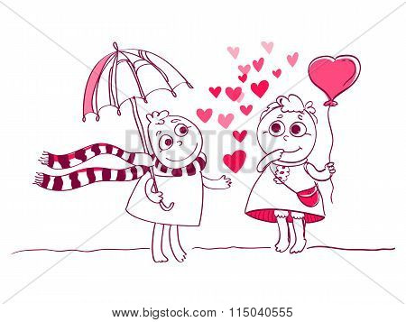 Two Cute characters couple for Valentines card