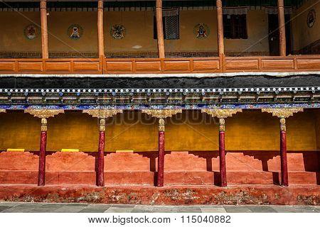 Tibetan architecture - arcade in Thiksey gompa (Tibetan Buddhist monastery). Ladakh, India