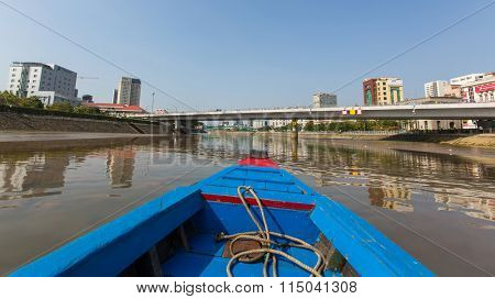 HO CHI MINH, VIETNAM - JAN 11, 2015: Views of the city from Boat. Traffic between Ho Chi Minh and southern provinces has steadily increased over years, receive 100,000 waterway vehicles every year.