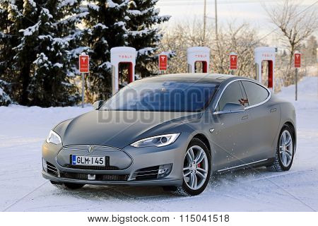 Tesla Model S Electric Car In Winter