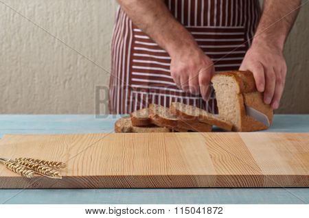 Blank Kitchen Table With Ears Of Wheat