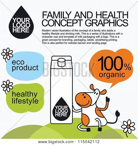 Family Healthy Infographic With Character Cow