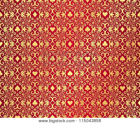 Red Seamless Poker Background With Golden, Damask Pattern And Cards Symbols