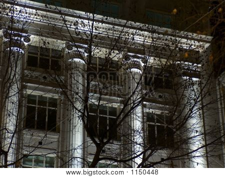 Facade Of A Building By Night, London