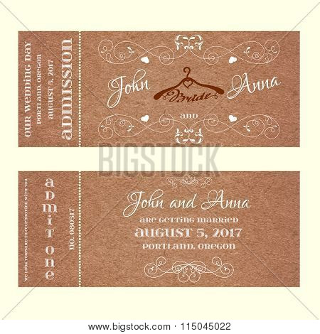 Ticket Wedding Invitation with hangers for bride