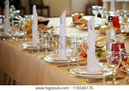 Festive table in the restaurant.