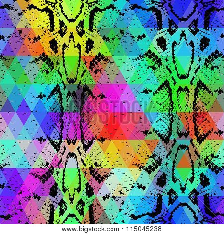 Snake skin texture  with colored rhombus. Geometric background. Seamless pattern black rainbow green