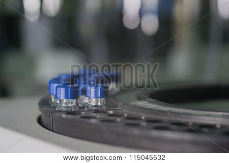 Sample Vials In Line Waiting For Analysis