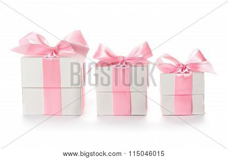Gift  boxes with pink satin ribbon