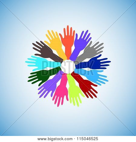 Colorful Raising Hands Around The World, Concept Of Volunteer Raising Support All Over The World.