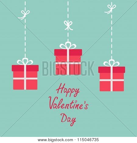 Happy Valentines Day. Love Card. Three Hanging Giftboxes. Dash Line With Bow. Flat Design. Blue Back