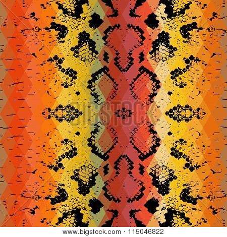 Snake skin texture  with colored rhombus. Geometric background. Seamless pattern black brown yellow