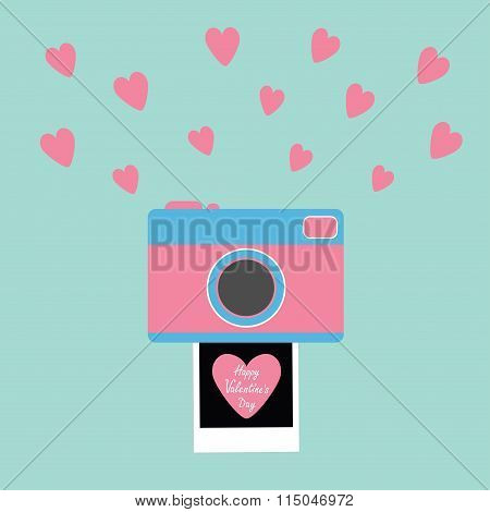 Happy Valentines Day. Love Card. Camera Instant Photo Flat Design Style. Pink Hearts. Blue Backgroun