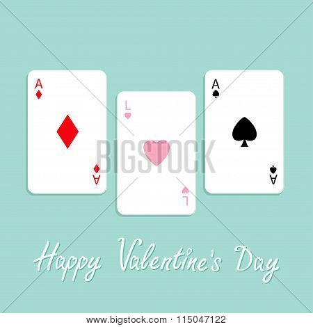 Happy Valentines Day. Love Background. Poker Playing Card Combination With Ace Of Spade, Diamond And