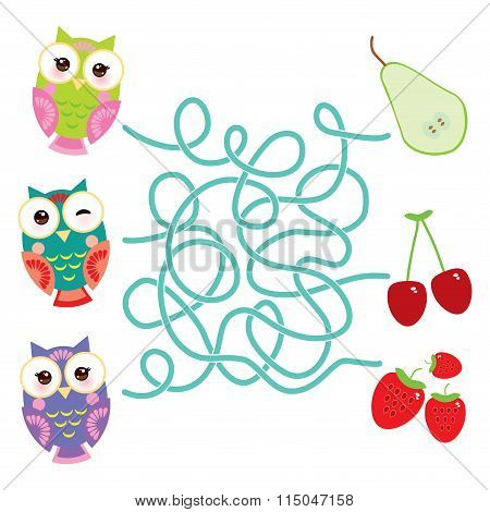 set bright colorful owls with pear cherry strawberry on white background. labyrinth game for Prescho