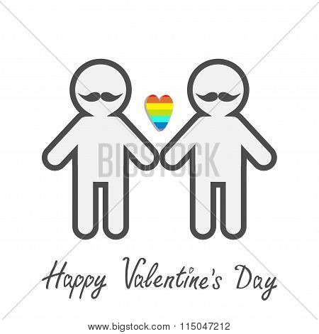 Happy Valentines Day. Love Card. Gay Marriage Pride Symbol Two Contour Man With Mustaches Lgbt Icon