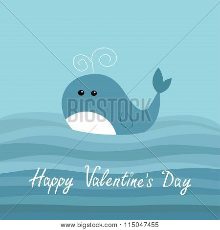 Happy Valentines Day. Love Card. Cartoon Whale In The Ocean With Blue Waves Kids Background Flat Des