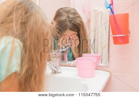Child Eye Wash Water In The Bathroom
