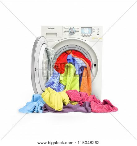 A Close Up Of A Washing Machine Loaded With Clothes Isolated On