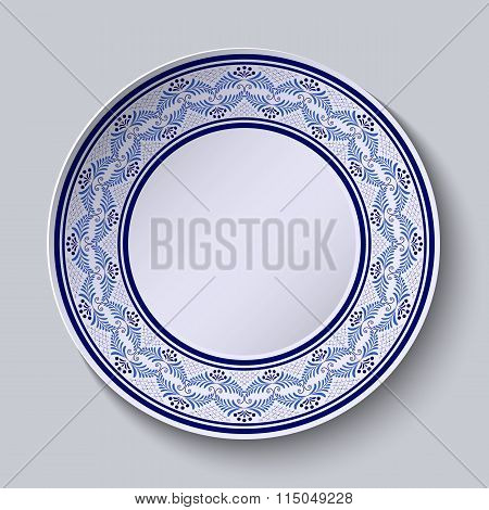 Decorative Plate With Painted Blue Floral Pattern In Ethnic Style.