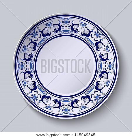 Plate With Pattern In Gzhel Style Of Painting On Porcelain. Wide Ornament Along The Edge With Flower